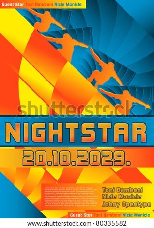 Sport Event Poster Design Skateboarding - stock vector