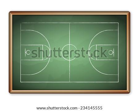 Sport field plan on blackboard. - stock vector