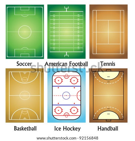Sport field set - stock vector