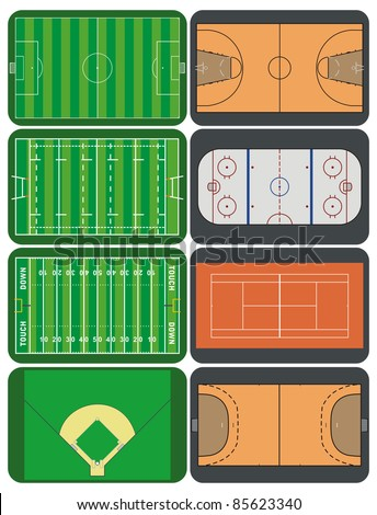 Sport fields and courts - stock vector