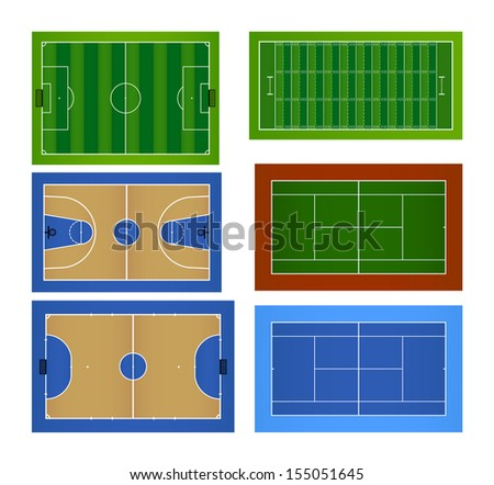 Sport fields and sport courts set - Vector illustration - stock vector