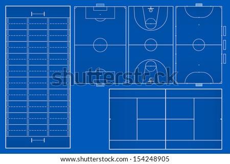 Sport fields set - Vector illustration - stock vector