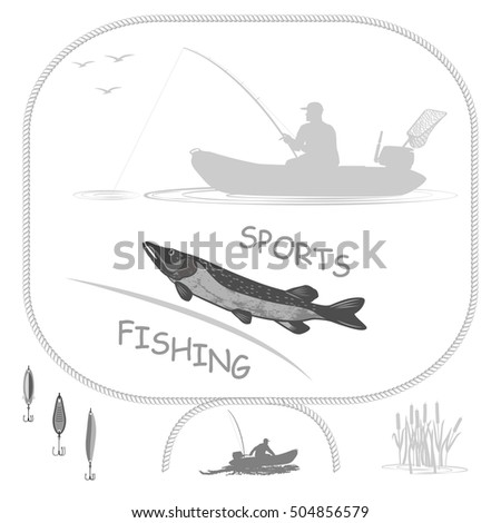 Sport fishing and a healthy lifestyle fish pike fisherman in a rubber boat. Spinning holds in his hands. Isolate on white background.