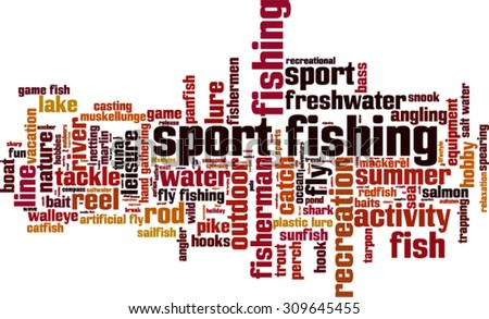 Sport fishing word cloud concept. Vector illustration - stock vector