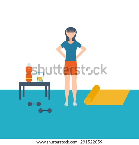 Sport fitness girl exercise workout flat icon. Vector flat set of fitness woman. Flat illustration of fitness elements. - stock vector