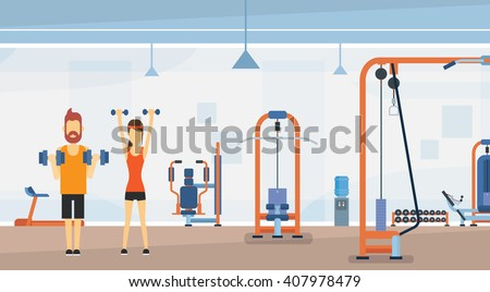 Sport Fitness Man Woman Lifting Weight Exercise Workout Gym Interior Flat Vector Illustration