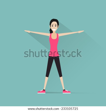 sport fitness woman exercise workout girl flat icon vector illustration - stock vector