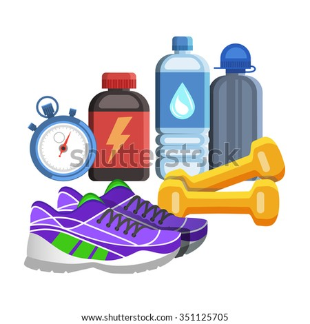 Sport flat icons, jogging and fitness kit elements. Sport concept, vector illustration - stock vector