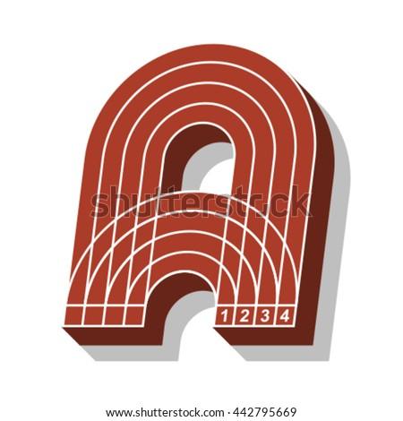 Sport font, letter A, running track, vector. - stock vector