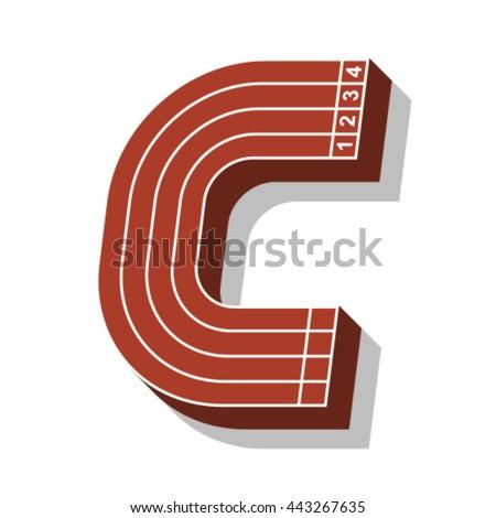 Sport font, letter C, running track, vector. - stock vector