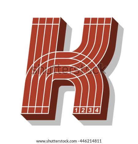 Sport font, letter K, running track, vector. - stock vector