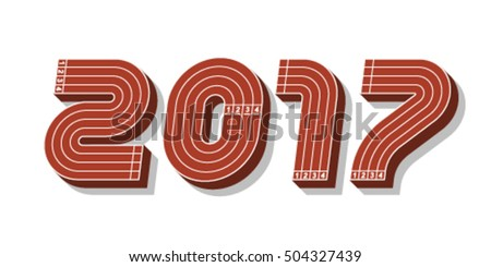 Sport font, 2017 new year, vector.