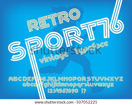 Sport font. Retro poster Vintage typeface. Line Alphabet. Type letters and numbers
