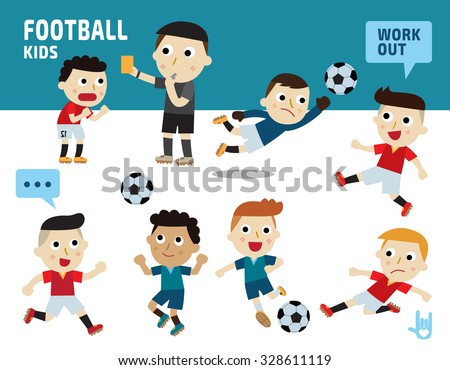 sport football concept.kids diverse of costume and action poses.flat design illustration. - stock vector