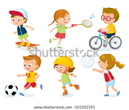 sport for kids including football, badminton, volleyball - stock vector
