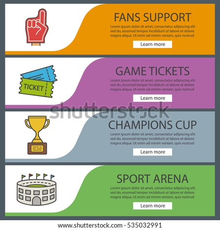 Sport Game Banner Templates Set. Foam Finger, Game Tickets, Winneru0027s Award,  Arena