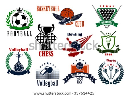 Sport game emblems and icons of football and soccer, basketball and darts, golf and volleyball, bowling, billiards and chess symbols. Adorned by sport items, trophies and heraldic elements - stock vector