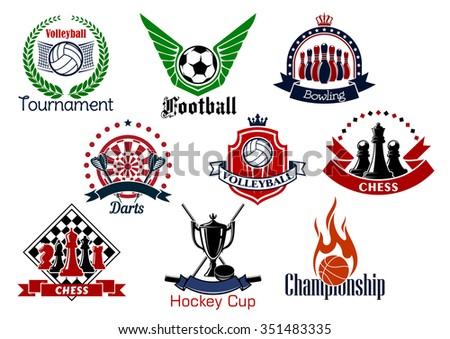 Sport game icons and symbols with trophies and heraldic design elements. Soccer or football, bowling, volleyball, hockey, basketball, chess and darts sport emblems - stock vector
