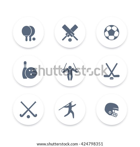 sport, games, competition round icons set, vector illustration - stock vector