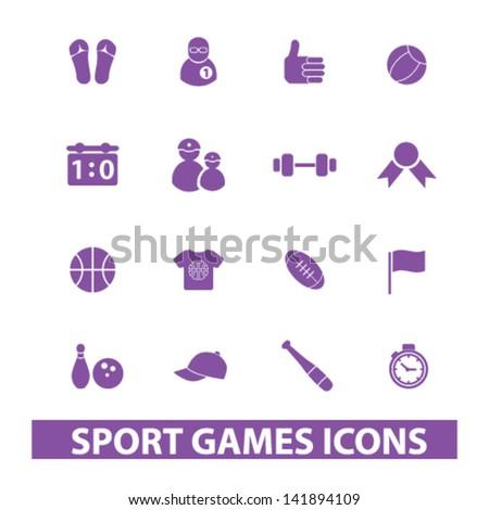 sport, games, fitness, winner, soccer, basketball, equipment icons, signs set, vector - stock vector