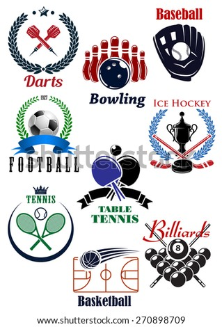 Sport games heraldic emblems or badges for darts, baseball, football or soccer, bowling, tennis, basketball, billiards and table tennis with sports facilities and game equipments - stock vector