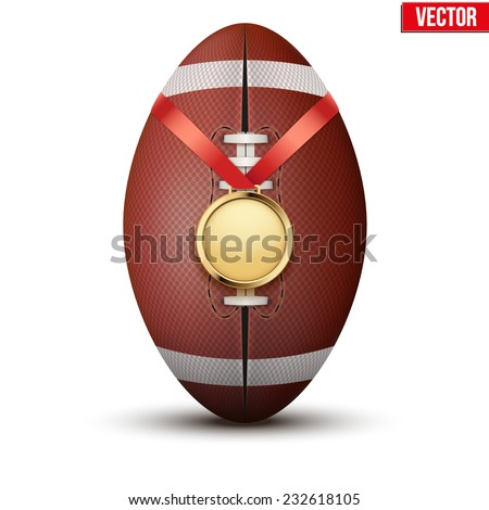 Sport gold medal with ribbon for winning the american football hangs on the ball. Vector Illustration isolated on white background. - stock vector