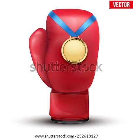 Sport gold medal with ribbon for winning the boxing hangs on the gloves. Vector Illustration isolated on white background. - stock vector