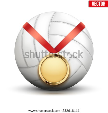 Sport gold medal with ribbon for winning the volleyball hangs on the ball. Vector Illustration isolated on white background.
