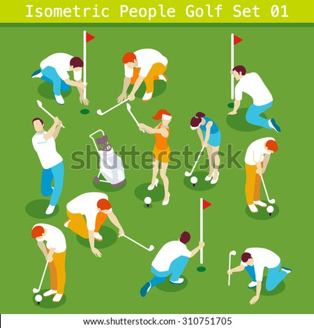 Sport Golf Players Set 01. Interacting People Unique Isometric Realistic Poses. NEW bright palette 3D Flat Vector Icon Collection. Golf Course or Professional Competition Assemble your Own 3D World - stock vector