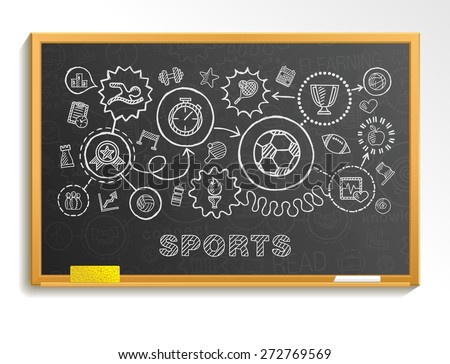 Sport hand draw integrated icons set on school board. Vector sketch infographic illustration. Connected doodle pictograms: swiming, football, soccer, basketball, game, fitness, activity concept - stock vector