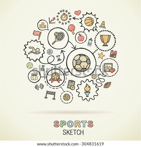 Sport hand drawing integrated sketch icons. Vector doodle interactive pictogram set. Connected infographic illustration on paper: baseball, football, tennis, bicycle, soccer, rugby, fitness concepts - stock vector