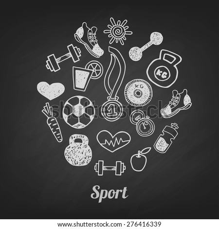 Sport hand drawn set vector icons on a blackboard. Healthy lifestyle background - stock vector