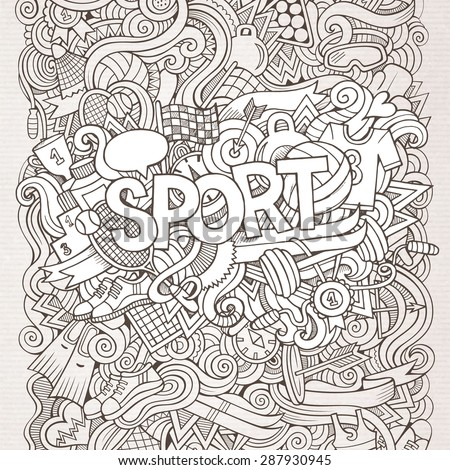 Sport hand lettering and doodles elements background. Vector illustration - stock vector