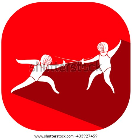 Sport icon design for fencing on red tag illustration
