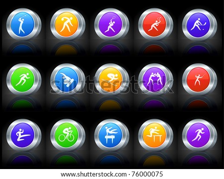 Sport Icon on Button with Metallic Rim Collection Original Illustration - stock vector