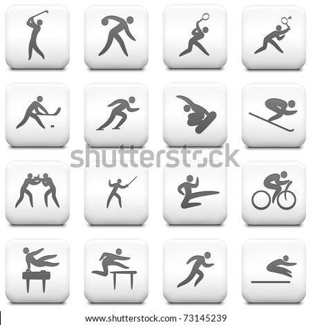 Sport Icon on Square Black and White Button Collection Original Illustration - stock vector