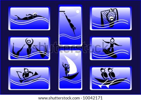 sport icon set - aqua - stock vector