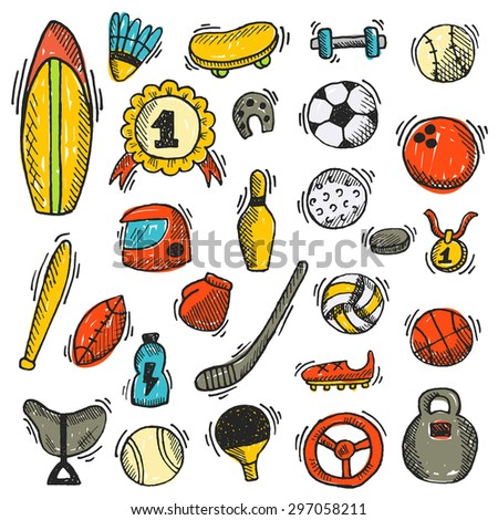 Sport icon set. Hand drawn vector illustration. Tennis, skating, fitness, boxing, bowling, baseball, hockey, golf, football, basketball, volleyball, soccer, ping pong, surfing, rugby and other sport. - stock vector