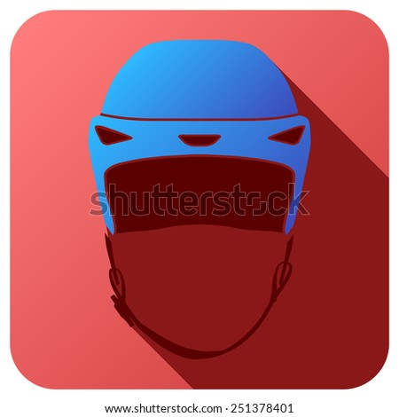 Sport icon with ice hockey helmet in flat style. Vector illustration isolated on white background. - stock vector