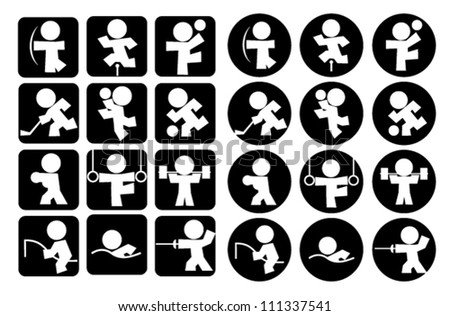 Sport icons. kids - stock vector