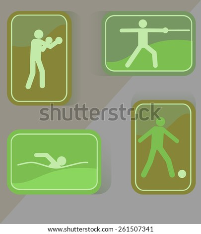 Sport icons of soccer, boxing swimming. - stock vector
