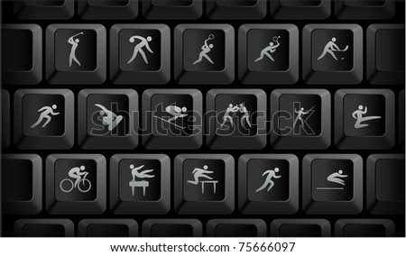 Sport Icons on Black Computer Keyboard Buttons Original Illustration - stock vector