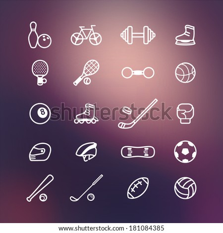 Sport icons on vector background - stock vector