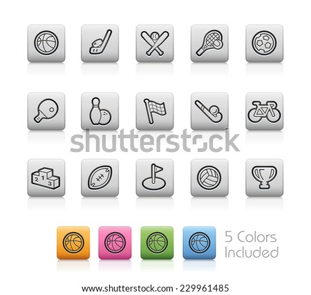 Sport Icons // Outline Buttons  ++ Each color in a layer - To select only the desired color, we suggest to block the others colors on the Layer Panel¨++  EPS 10+ - stock vector