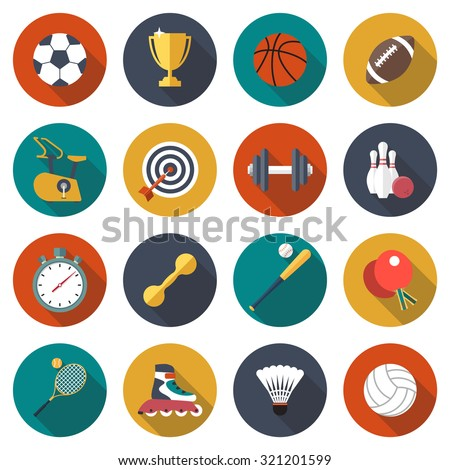 Sport icons set. football, basketball, rugby, fitness, bowling, baseball, tennis, ping pong, volleyball, dumbbells. Elements and objects of sport, recreation, entertainment. Web and mobile app. Vector