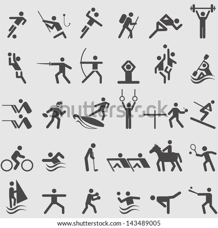 Sport icons set. Vector - stock vector