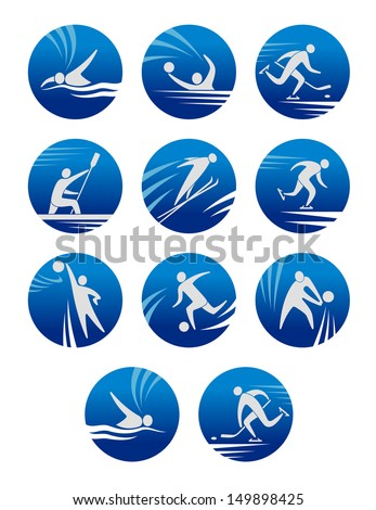 Sport icons set with sportsmen for any competition or championship design or idea of logo. Jpeg version also available in gallery - stock vector