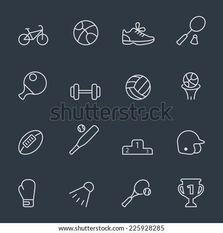 Sport icons, thin line design, dark background - stock vector