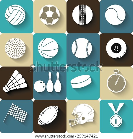 Sport icons with long shadow flat design. Sport balls, equipment, medal, stopwatch -  vector illustration  - stock vector