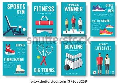 Sport information cards set. Lifestyle template of flyear, magazines, posters, book cover, banners. Physical athletic infographic concept  background. Layout illustrations modern pages with typography - stock vector